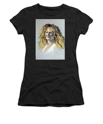 Pastel Portrait Of Woman With Frizzy Hair Women's T-Shirt
