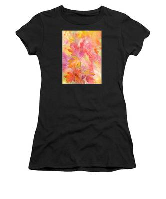 Women's T-Shirt featuring the painting Pink Leaves by Nancy Cupp