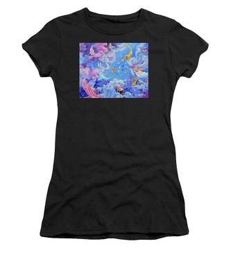 Women's T-Shirt featuring the painting Praise Him From The Heavens by Nancy Cupp