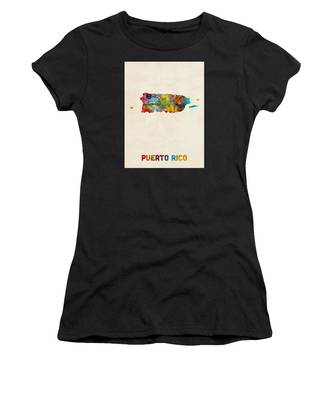 Puerto Rico Watercolor Map Women's T-Shirt