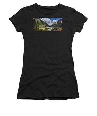 Pyramid Peak, Maroon Bells, And Crater Lake Panorama Women's T-Shirt