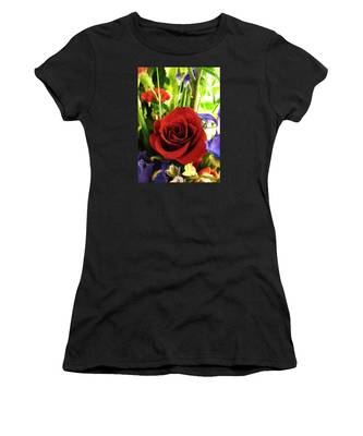 Red Rose And Flowers Women's T-Shirt