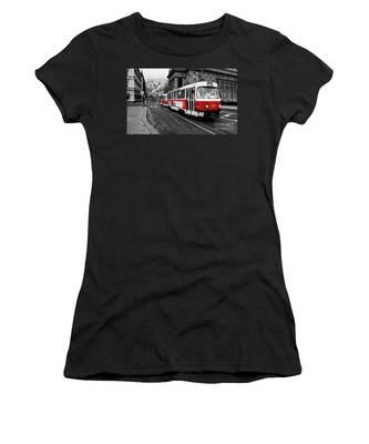 Prague - Red Tram Women's T-Shirt