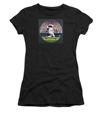 Women's T-Shirt featuring the painting Reggie Jackson by Cliff Spohn