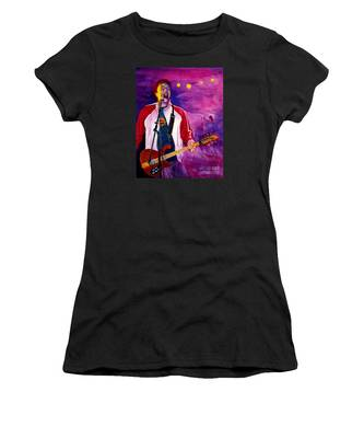 Women's T-Shirt featuring the painting Rock On Tom by Nancy Cupp