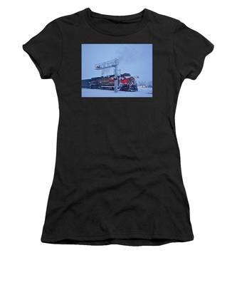 Snowy Train Crossing  Women's T-Shirt