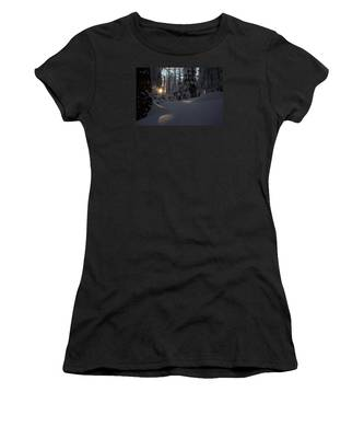 Sunburst In Winter Fairytale Forest Harz Women's T-Shirt
