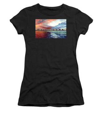 Women's T-Shirt featuring the painting Sunrise Over Indian Lake by Nancy Cupp