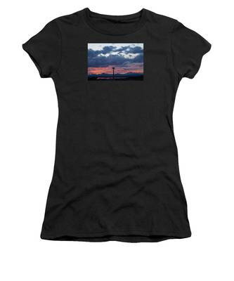 Sunset Red Clouds And Space Needle Women's T-Shirt
