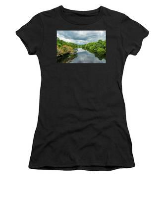 Cloudy Skies Over The River Women's T-Shirt
