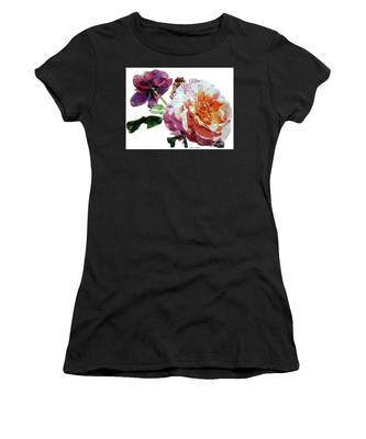 Watercolor Of Two Roses In Pink And Violet On One Stem That  I Dedicate To Jacques Brel Women's T-Shirt