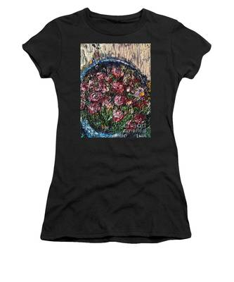 Flower Basket Women's T-Shirt by Laurie Lundquist