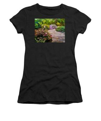 Path To The Garden Bench At Evergreen Arboretum Women's T-Shirt