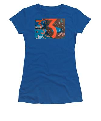 3 In Blue And Orange Women's T-Shirt by Break The Silhouette