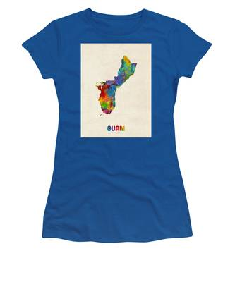 Guam Watercolor Map Women's T-Shirt