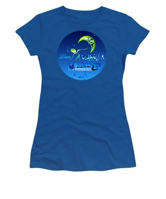 Women's T-Shirt featuring the painting I Love Water  by Robert G Kernodle