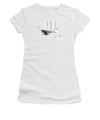 Women's T-Shirt featuring the drawing Great Men Sailing by Laurie Lundquist