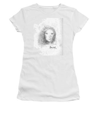 Women's T-Shirt featuring the drawing Something About Mary by Laurie Lundquist