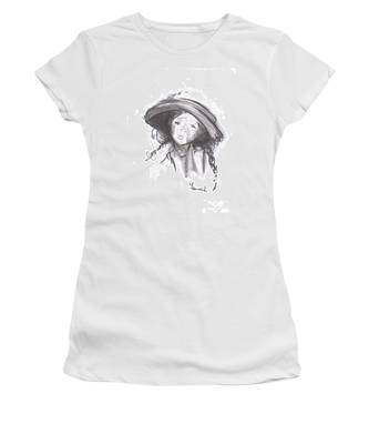 Women's T-Shirt featuring the drawing The Bonnet by Laurie Lundquist