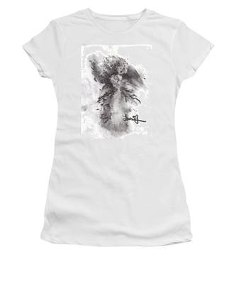 Women's T-Shirt featuring the drawing Rapture Of Peace by Laurie Lundquist