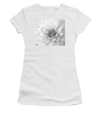 Dahlia Flower Black And White Women's T-Shirt