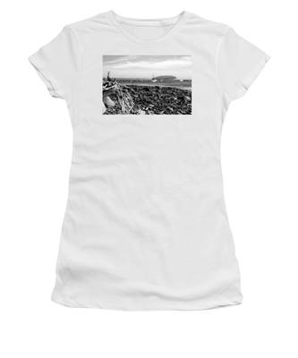 Women's T-Shirt featuring the photograph Driftwood And Harbor by Jemmy Archer