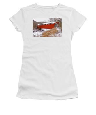 Everett Rd. Covered Bridge In Winter Women's T-Shirt