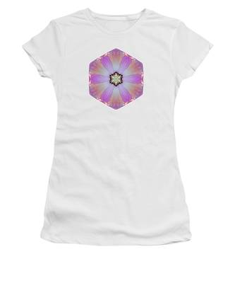 Pink And White Hibiscus Moscheutos I Flower Mandala White Women's T-Shirt