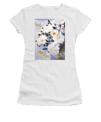 Wartercolor Of White Roses On A Branch I Call Rose Tchaikovsky Women's T-Shirt