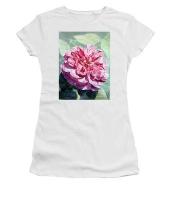 Watercolor Of A Pink Rose In Full Bloom Dedicated To Van Gogh Women's T-Shirt
