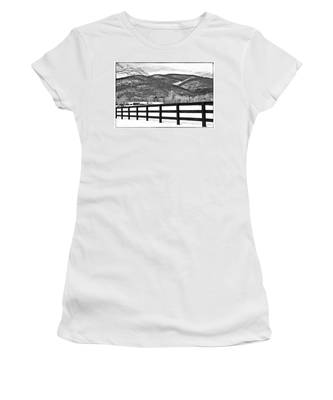 Women's T-Shirt featuring the photograph The Fenceline B W by Jemmy Archer