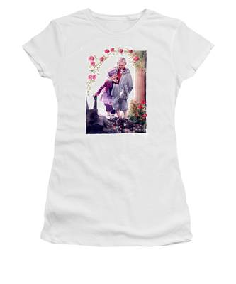 Watercolor Of A Boy And Girl In Their Secret Garden Women's T-Shirt