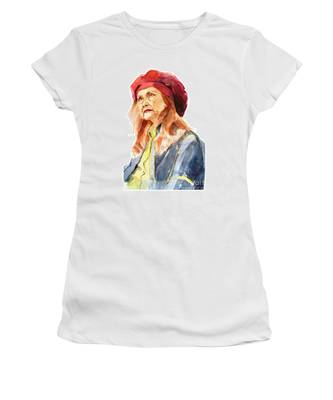 Watercolor Portrait Of An Old Lady Women's T-Shirt