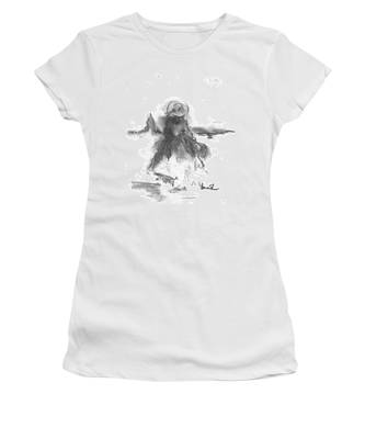 Women's T-Shirt featuring the drawing Being Happy by Laurie Lundquist