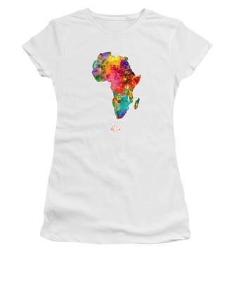 Africa Watercolor Map Women's T-Shirt