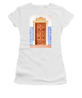 Brown Wood Door Of Old World Europe Women's T-Shirt