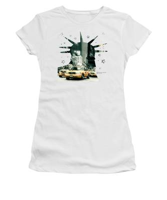 Lady Liberty And The Yellow Cabs Women's T-Shirt