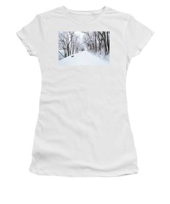Lonely Snowy Road Women's T-Shirt