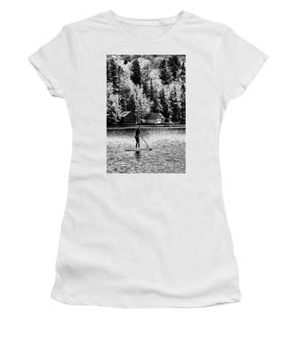Paddleboarding On Old Forge Pond Women's T-Shirt