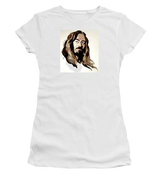 Watercolor Portrait Of A Man With Long Hair Women's T-Shirt