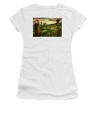 Rainy Day Hilltop View On The South Downs Women's T-Shirt by Chris Lord