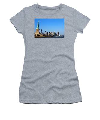 Women's T-Shirt featuring the photograph Lady Liberty Watches 1wtc Rise by Jemmy Archer