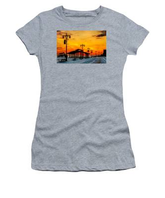 Women's T-Shirt featuring the photograph Coney Island Winter Sunset by Chris Lord