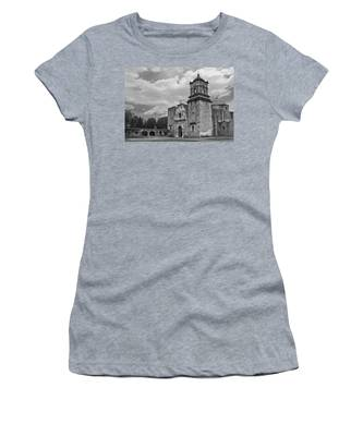 Women's T-Shirt featuring the photograph Mission San Jose Bw by Jemmy Archer