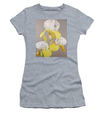 Women's T-Shirt featuring the painting Irises-posthumously Presented Paintings Of Sachi Spohn  by Cliff Spohn