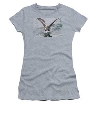 Brown Pelican Landing On Water . 7d8372 Women's T-Shirt