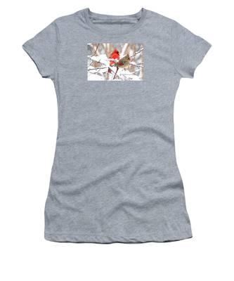 Cardinals In The Winter Women's T-Shirt