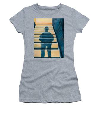 Women's T-Shirt featuring the painting Downstairs by Break The Silhouette
