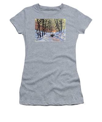 Evening Glow On A Winter Lane Women's T-Shirt