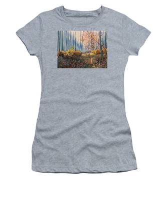 Sunlight And Sheep In Sledmere Woods Women's T-Shirt